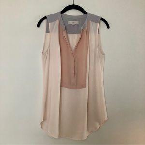 LOFT Pink and Gray Sleeveless Blouse